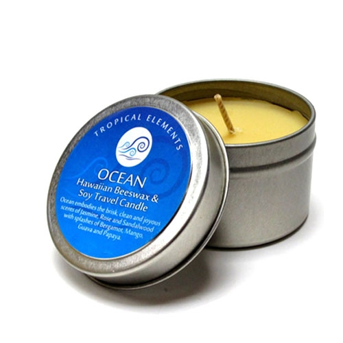 Travel Tin Container Candle Signature Scent 4 oz Signature Scent Natural Scented Candle Ocean Breeze Beeswax Candle Tin